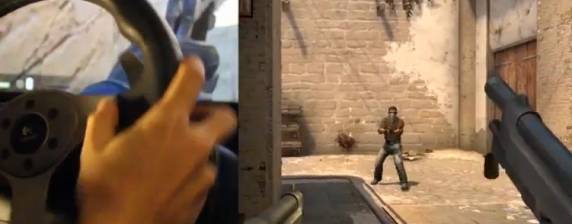 شخص مجنون يقوم بلعب لعبه counter strike بمقود السياره