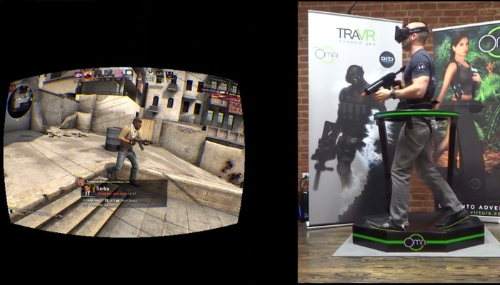 """Photo of Video showing a realistic """"Counter Strike"""" experience using Virtuix Omni"""
