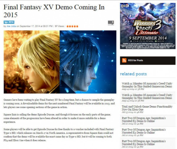 Photo of Final Fantasy Type-0 HD owners will be able to try FFXV demo in 2015