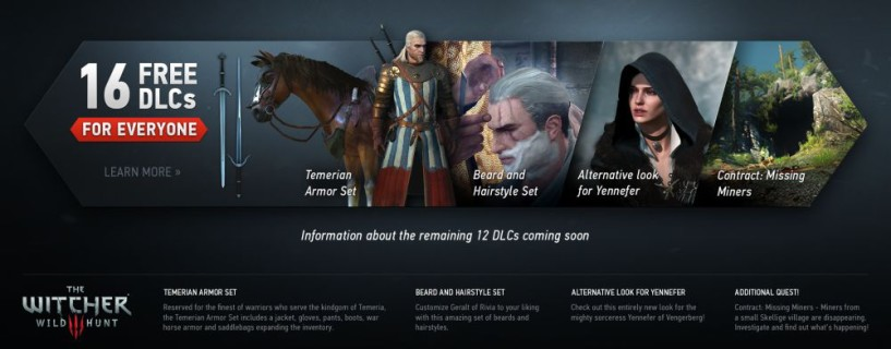 All of The Witcher 3: Wild Hunt DLCs are going to be free for all players