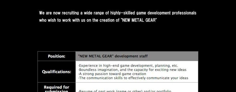 Konami hiring for the next Metal Gear game