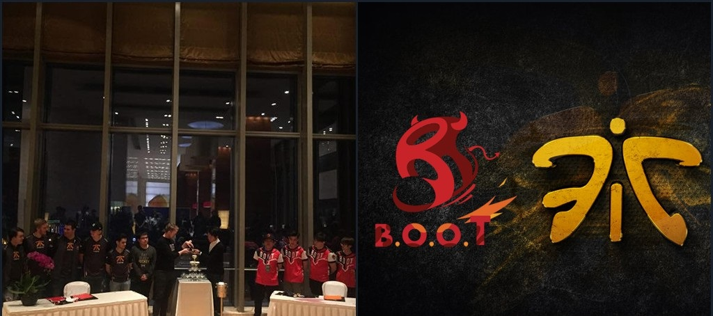 Photo of Fnatic partners with B.O.O.T Chinese esports agency