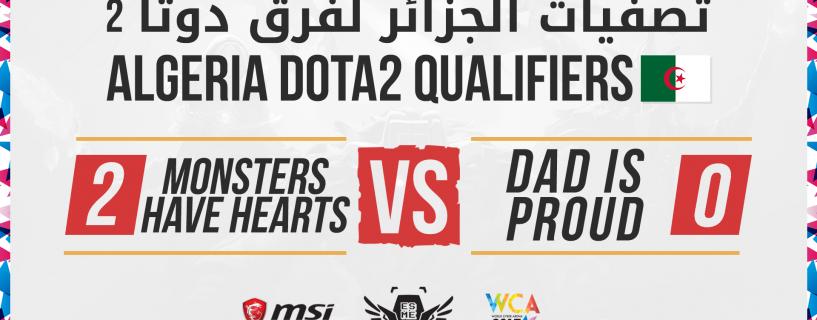 الجزائر تتقدم للجولة النهائية لتصفيات WCA 2017 في Dota 2 مع فريقي Monsters Have Hearts و Dad is Proud