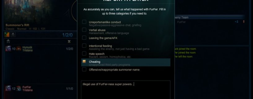 New Feature is available now in League of Legends Reports System