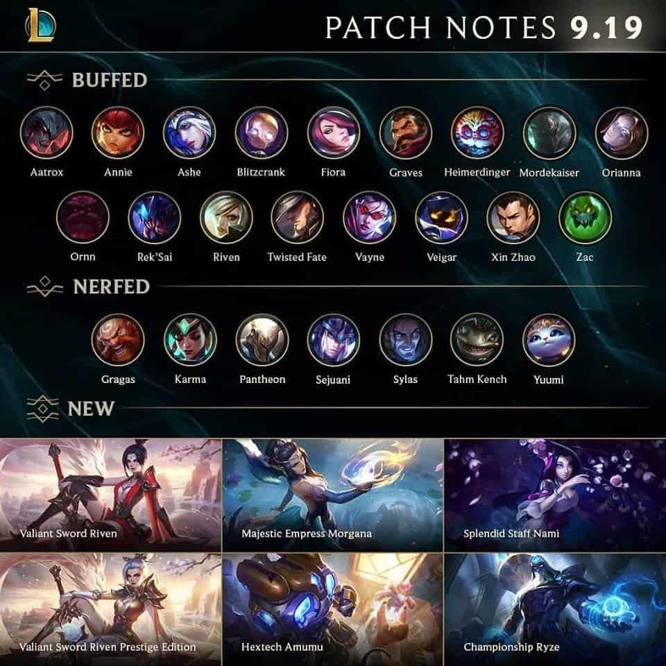League of legends patch 9.19 notes